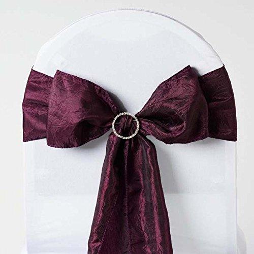 Efavormart 5pc x Eggplant Taffeta Crinkle Sash for Wedding Events Banquet Decor Chair Bow Sash Party Decoration Supplies