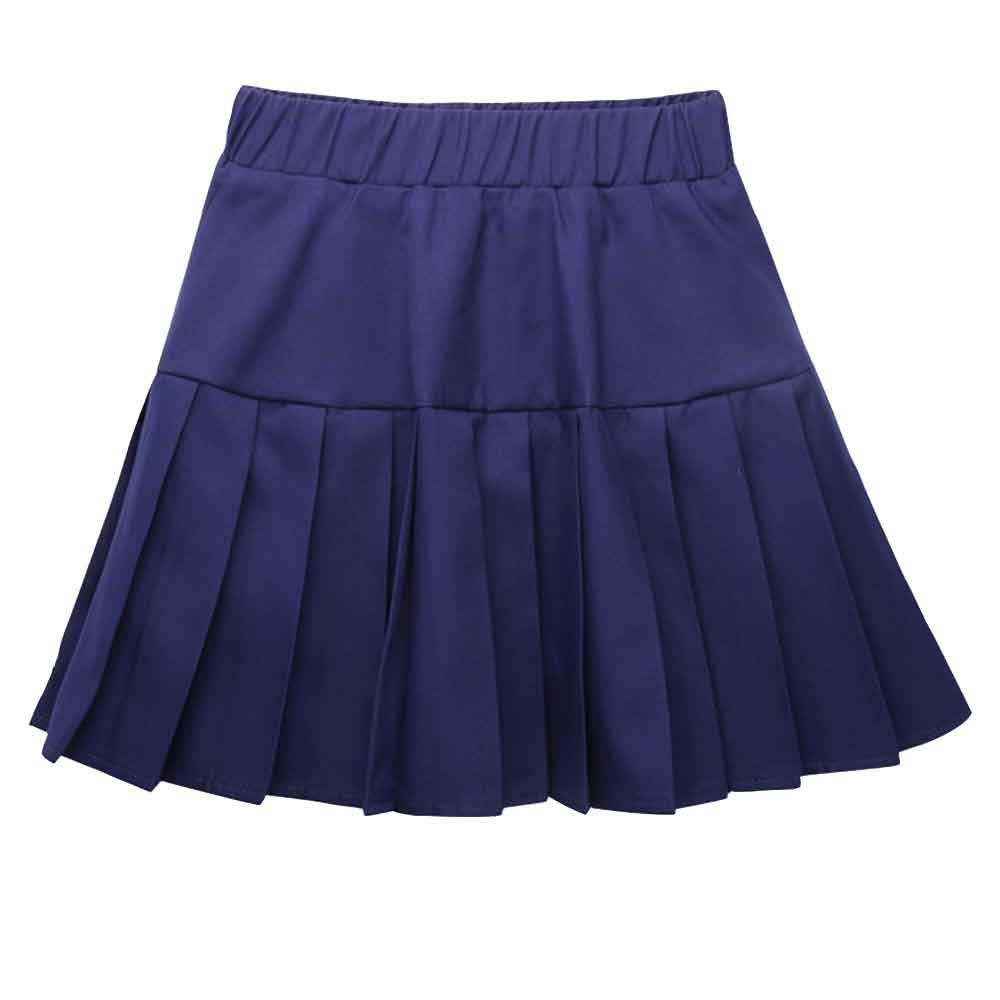 Girls High Waist Knitted FlaBlack/White Stripe Pleated Skater Skirt Casual Mini Skirt Navy Blue Tag 150 (11-12 Years)