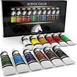nail acrylic paint set - Acrylic Paint Set - Artist Quality Paints for Painting Canvas, Wood, Clay, Fabric, Nail Art, Ceramic & Crafts - 12 x 12ml Heavy Body Colors - Rich Pigments - Professional Supplies by MyArtscape