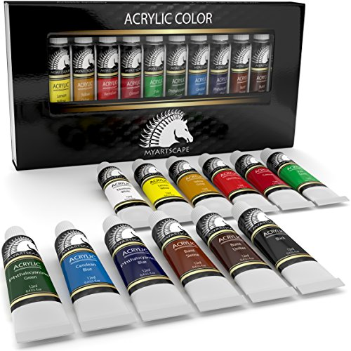 Acrylic Paint Set - Artist Quality Paints for Painting Canvas, Wood, Clay, Fabric, Nail Art, Ceramic & Crafts - 12 x 12ml Heavy Body Colors - Rich Pigments - Professional Supplies by MyArtscape by MyArtscape