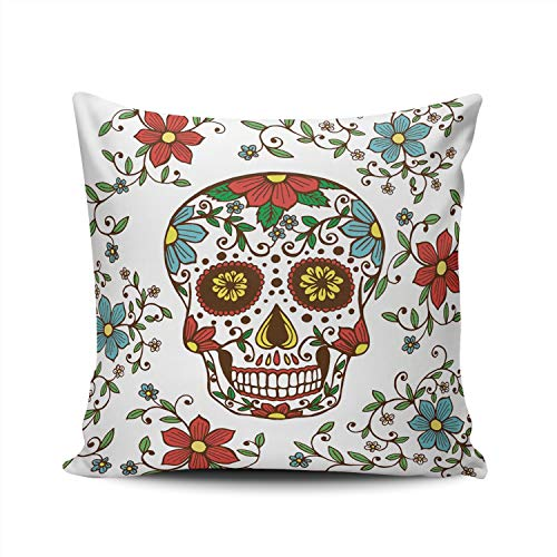 - SALLEING Custom Fashion Home Decor Pillowcase Day of The Dead Colorful Skull with Floral Square Throw Pillow Cover Cushion Case 24x24 Inches Double Sided Print