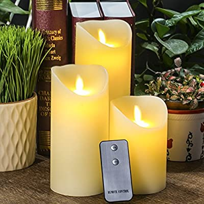 3pcs Luminara Vanilla Scented Wick Candles Dancing LED Flameless Flicker with Remote Control(Ivory)