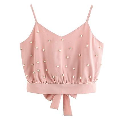 115ad63ee2cb9d Amazon.com - Women's Summer Chiffon Pearl Beading Button Camisole ...
