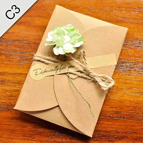 (OUOK 5PCS/Lot Kraft Paper Envelope for Wedding Invitations Flower Envelope,S3,17.5cmx11cm)