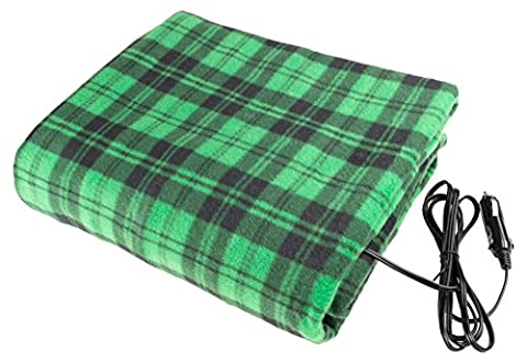 Electric Heater Car Blanket- Heated Travel Throw Electric Blanket for Car and RV, 12 volt by Stalwart- Green and - Plaid Electric Blanket
