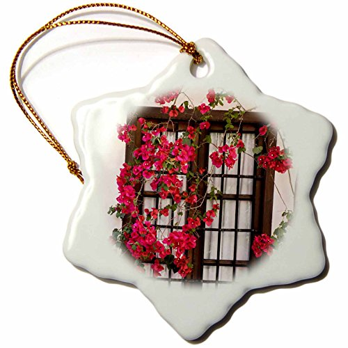 3dRose Danita Delimont - Flowers - Spain, Andalusia. Cordoba. Red bougainvillea and house window. - 3 inch Snowflake Porcelain Ornament (orn_277893_1) by 3dRose