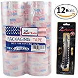Packing Tape with Retractable Razor Knife Included Ultra Adhesive Clear Packaging - Box and Package Sealing Rolls for Shipping and Mailing - Fits Any Standard Guns and Dispensers (Set of 12)