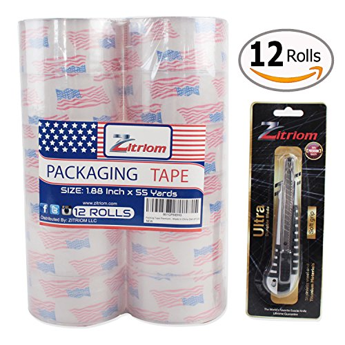 Packing Tape with Retractable Razor Knife Included Ultra Adhesive Clear Packaging - Box and Package Sealing Rolls for Shipping and Mailing - Fits Any Standard Guns and Dispensers (Set of 12) by zitriom