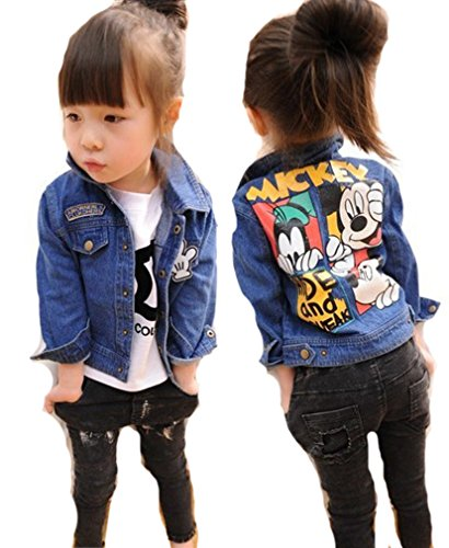Mickey Denim - Little Toddler Girls Mickey Mouse Outerwear Denim Jeans Jacket Coats Blue 4t