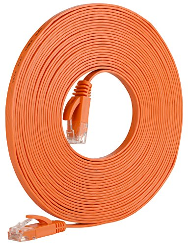 Orange Networking Cables - Fosmon Networking Cat5e Flat Tangle Free Ethernet Patch Cable (Orange, 25 Feet)
