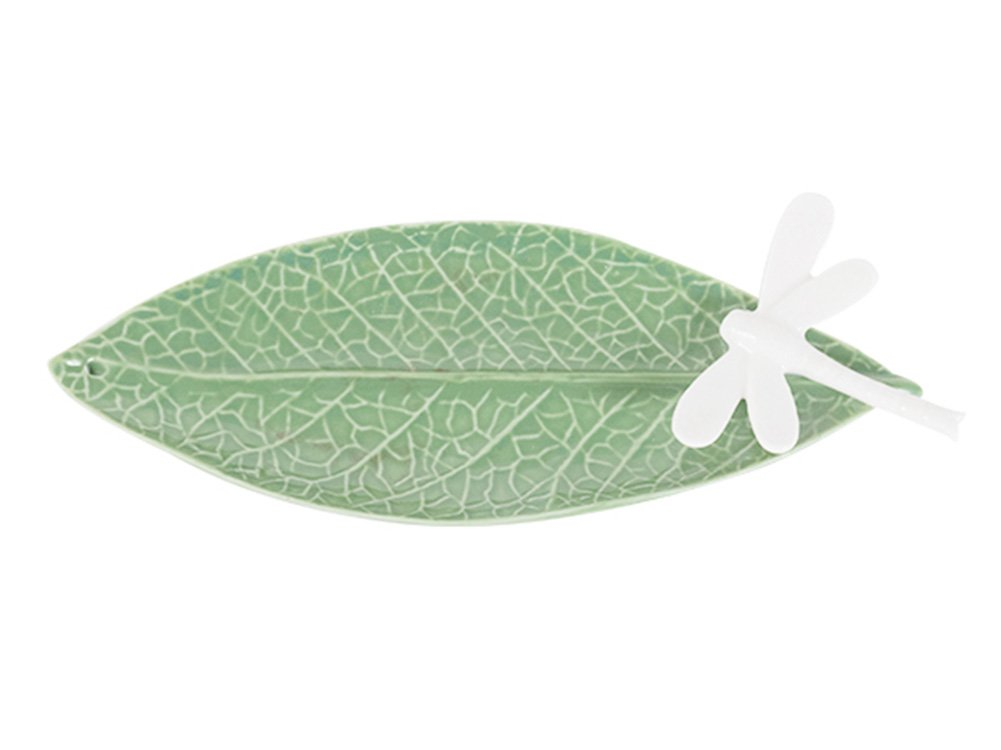SCOFEEL MADE Creative Ceramic Plate Tray Ceramic Saucer Jewelry Ring Dish Fruit Saucer Dessert Plate 3D Cute Animal Bird Dragonfly Green leaf