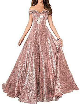 Formaldresses Off Shoulder Sequins Prom Dresses Long for