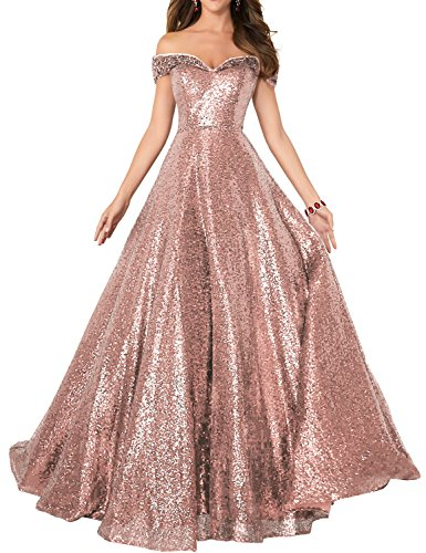 Beaded Empire Waist Prom Dress - 2018 Off Shoulder Sequined Prom Party Dresses for Women A Line Empire Waist Robes Formal Evening Skirts Long Elegant Gowns SHPD41 Rose Gold Size 10