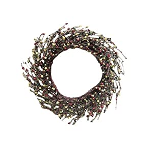 """CWI Gifts 12"""" Primitive Combo Berry Wreath, Multi 107"""