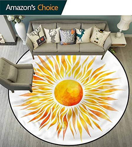 RUGSMAT Orange Anti-Skid Area Rug,Graphic Sunburst Watercolors Floor Mat Home Decor Round-55