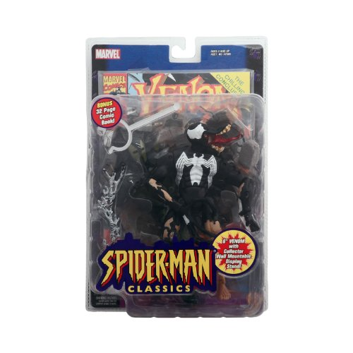 Venom Classic - Spiderman Classics: Venom (Eddie Brock) Action Figure - Marvel - Bonus 32pg Comic - Mint in Package - Collectible - (D)