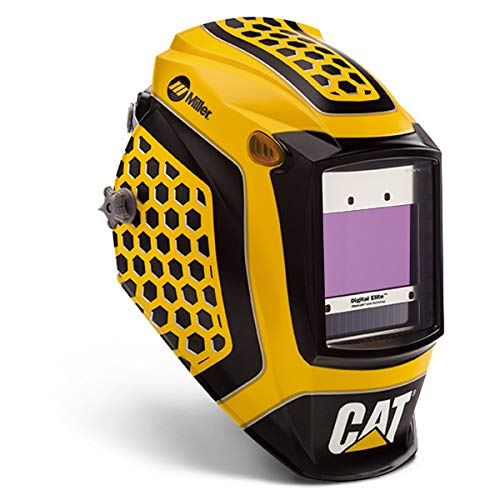 Miller Digital Elite Cat - 1st Edition Yellow/Black Welding Helmet With Variable Shades 3, 5 - 13 ClearLight Lens Technology Auto Darkening Lens, Package Size: 1 Each