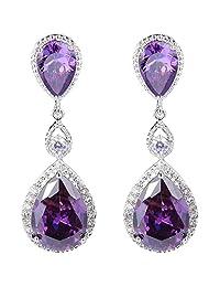 Ever Faith Silver-Tone Full Cubic Zirconia Teardrop Elegant Bridal Dangle Earrings