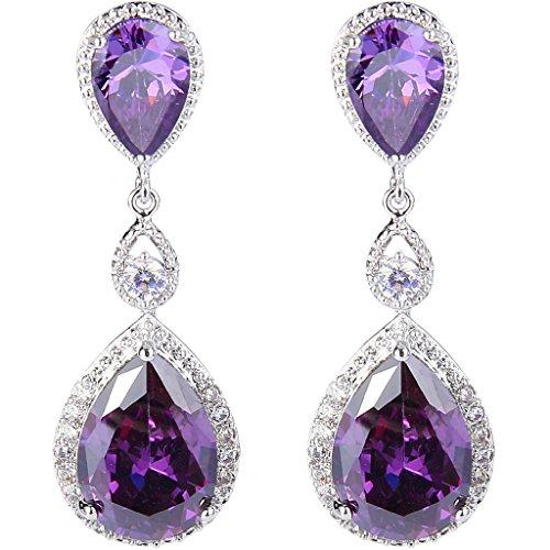 Purple Womens Earring - EVER FAITH Silver-Tone Cubic Zirconia February Birthstone Tear Drop Dangle Earrings Purple