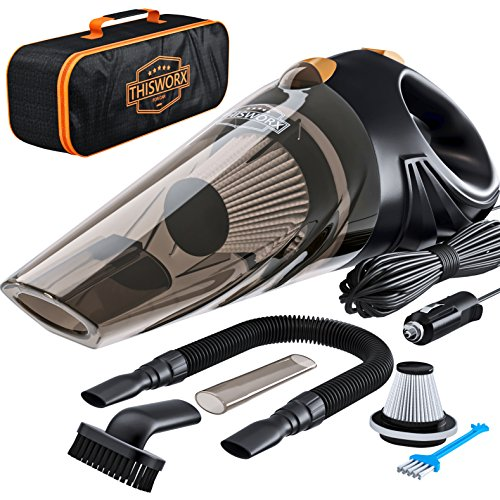 High Power Motor - Car Vacuum - Car Vacuum Cleaner which makes your auto interior dirt-free with high-power 106W motor HEPA filter 16-foot long cord - Portable Hand-held Black 12-volt DC Car Vaccume Cleaner for car
