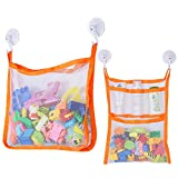 Bath Toy Organizer, SUNDOKI Toy Holder Bags with 4 Suction Cup Hooks and 2 Bath Toy Nets for Kids, Toddlers and Adults (Orange)