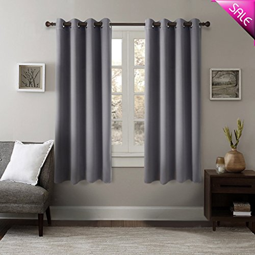GIAERD Blackout Panel Curtains W52 X L63 Inches,Noise Reducing Thermal Insulated Solid Eyelet Top Room Darkening Drapes for Bedroom Living Room(1 Pair,Grey)