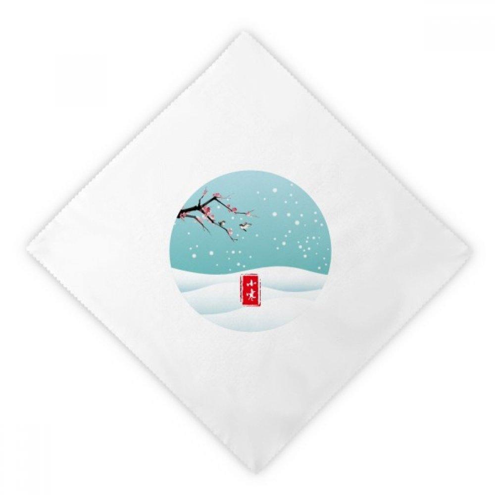 DIYthinker Circular Slight Cold Twenty Four Solar Term Dinner Napkins Lunch White Reusable Cloth 2pcs