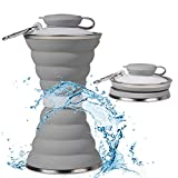 5. Collapsible Water Bottle, Camping Cup With Carabiner, Reuseable Silicone Foldable Leak Proof Portable Sports Travel Water Bottles For Outdoor, Travel Gym Hiking, BPA Free, FDA Approved Cycling Cups
