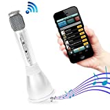 Pyle Microphone Portable Wireless Karaoke Machine , Mini Handheld Cellphone Karaoke Player Built-iin Speaker, Karaoke Mic Machine for Home KTV
