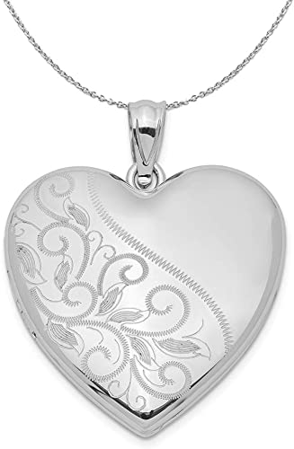 Sterling Silver 26mm Satin and Polished Floral Oval Locket