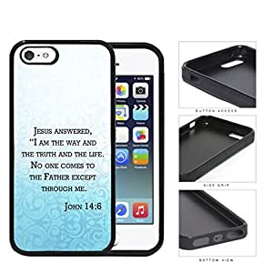 John 14:6 Religious Bible Verse BLUE gradient Floral Overlay [iPhone 5 5s] Rubber Silicone TPU Cell Phone Case