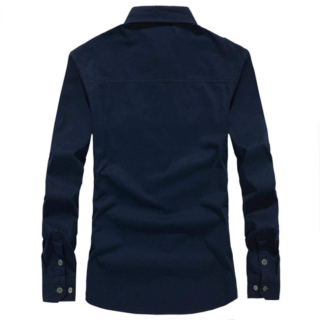 Camisa Hombres 2018 Moda otoño Camiseta de Manga Larga de botón Militar de Carga para Hombre Blusa Deportivas Pollover Outwear Tops de Vestir: Amazon.es: ...