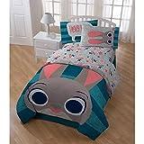 5pc Blue Grey Kids Disney Zootopia Movie Theme Comforter Twin Set, Fun Stripe Bedding, Cute Disneys Star Characters Judy Hopps Bunny Nick Wilde Finnick Fox