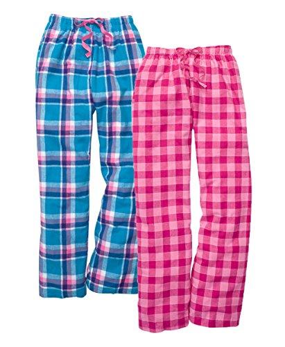Boxercraft Flannel - Boxercraft Women's 2-Piece Flannel Pants Set, S, PacificSurf/Bubblegum