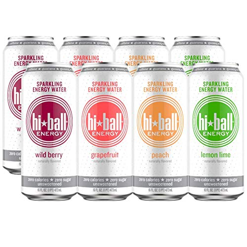 - Hiball Energy 4 Flavor Sparkling Energy Water Variety Pack, Zero Sugar and Zero Calorie Energy Drink, 16 Fluid Ounce Cans, Pack of 8