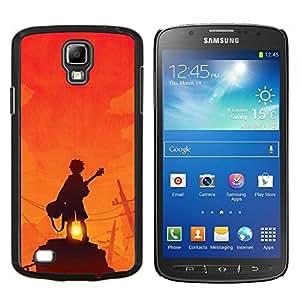 LECELL--Funda protectora / Cubierta / Piel For Samsung Galaxy S4 Active i9295 -- Guitarrista Sunset Roca Naranja --