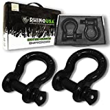 "Rhino USA D Ring Shackle (2 Pack) 41,850lb Break Strength – 3/4"" Shackle with 7/8 Pin for use with Tow Strap, Winch, Off-Road Jeep Truck Vehicle Recovery, Best Offroad Towing Accessories (Gloss)…"