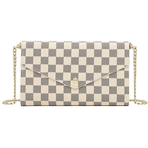 Miracle Checkered Cross Body Bag | Chain Wallet Clutch with Credit Card Slots | Evening Purse - PU Vegan Leather (Cream) ()