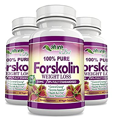 100% Pure Forskolin Extract For Weight Loss | Natural Dietary Supplement 60 Veggie, High Grade Capsules With 250mg Coleus Forskohlii | Fat Burner & Appetite Suppresant | Potent Weight Loss Formula