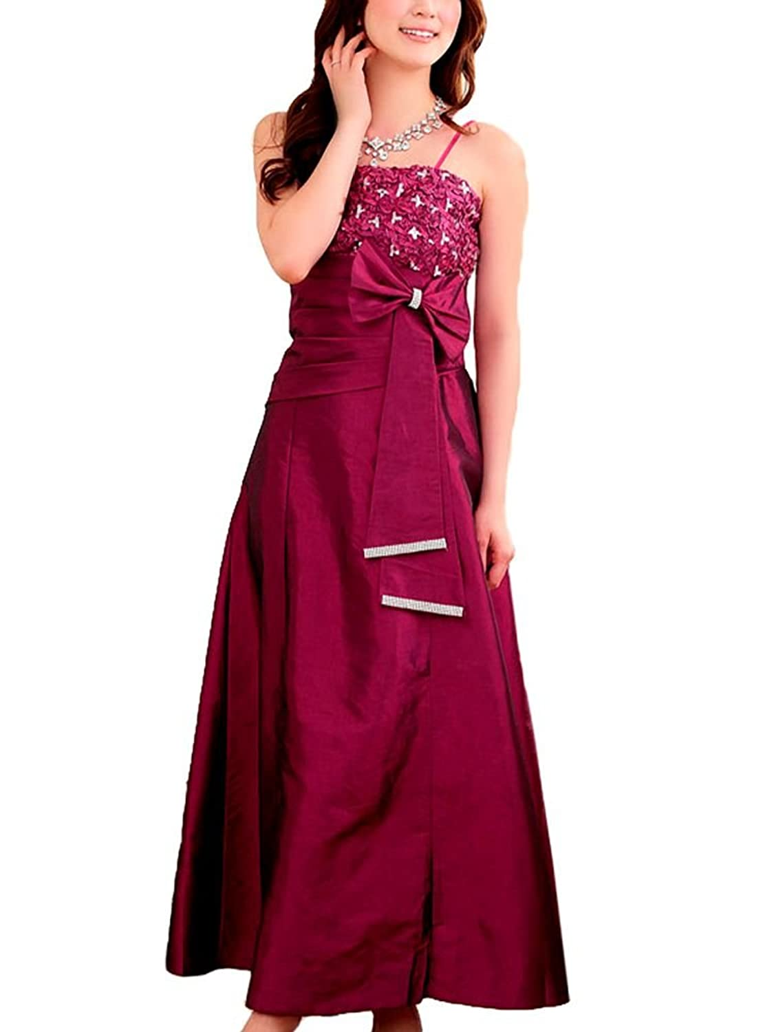 VIP Dress Long Satin Evening Gown in green, beige and raspberry