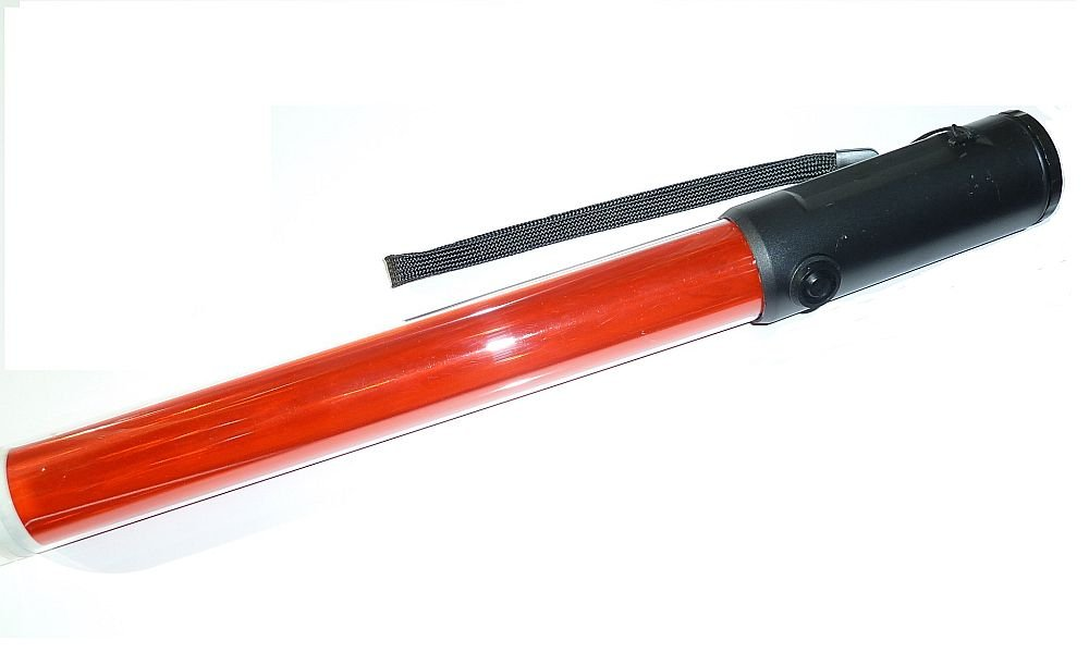 Import by diskpro, 14.5 inch Red LED Traffic Safety Baton Light, in 18 Red LED with two flashing modes (blinking & steady-glow) plus 1 White LED on tip