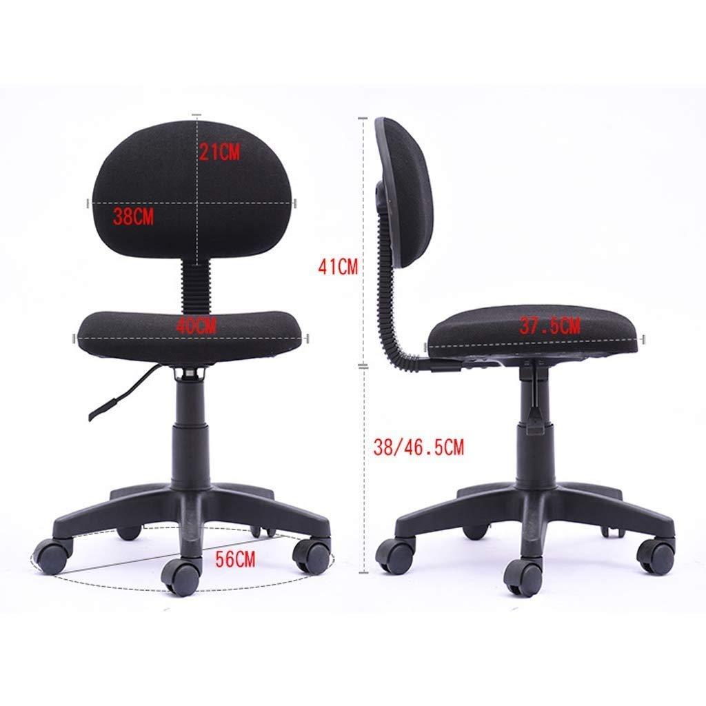 ZXL kontorsstol höjd justerbar skrivbordsstol elastisk korsryggstöd/lugnande ryggtryck, stålrör stöd/dammjacka skydd, höjdjustering (färg: svart) BLÅ