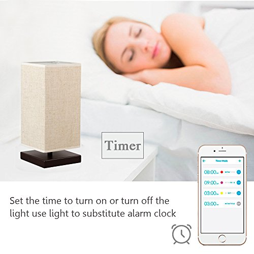 MLGB Alexa WiFi Smart Wood Table Lamp, Dimmable Multicolored Color Changing LED Light, with Fabric Shade and Solid Wood, Smartphone Control Compatible with Alexa … by MLGB (Image #5)'