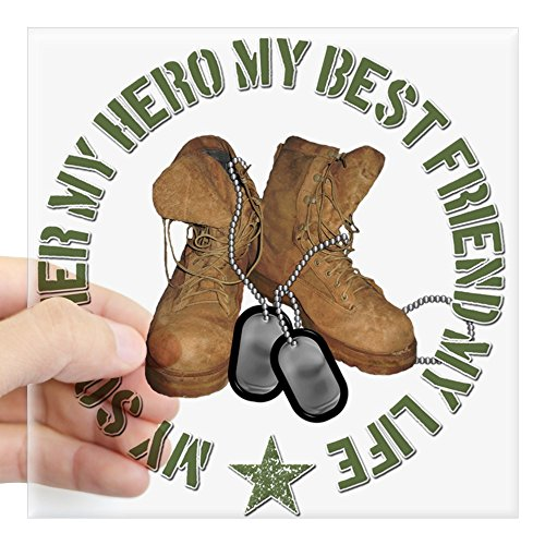(CafePress My Soldier, My Hero, My Best Square Sticker Square Bumper Sticker Car Decal, 3