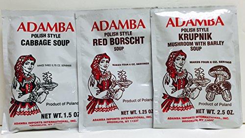 Adamba Polish Style Soup Mix Variety 3 Flavors – Cabbage Soup (1.5 oz), Krupnik Mushroom with Barley Soup (2.5 oz), and Red Borscht Soup (1.25 oz)