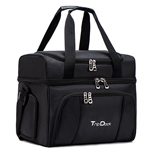 Ice Bag Cooler (TripDock Large Capacity Insulated Cooler Bag- Outdoor Picnic Lunch Box-Thermal Travel Tote Black)