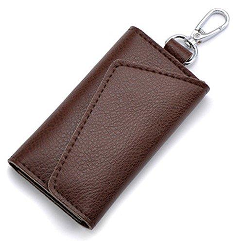 - Aladin Leather Pocket Key Organizer Case with 6 Hooks & 1 Car Key Fob Holder Coffee