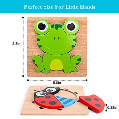 Slotic Wooden Puzzles for Toddlers - Animal Jigsaw Puzzles for 1 2 3 Years Old Boys & Girls, Kids Educational Toys (6 Pack): Toys & Games