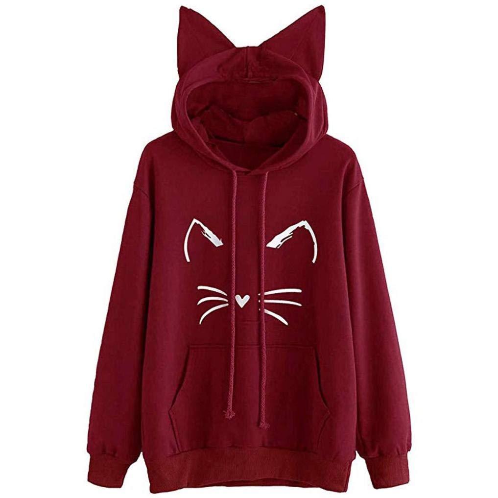 Rambling Hot Style Girls Cute Cat Ear Pullover Hoodie Long Sleeve Kangaroo Pouch Sweatshirts Hoody