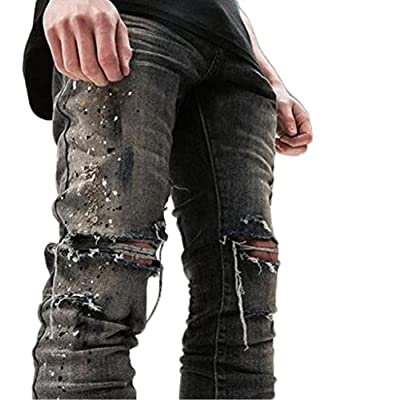 eb5c925f Sarriben Mens Destroyed Hole Skinny Jean Ripped Denim Distressed Slim Fit  Jean